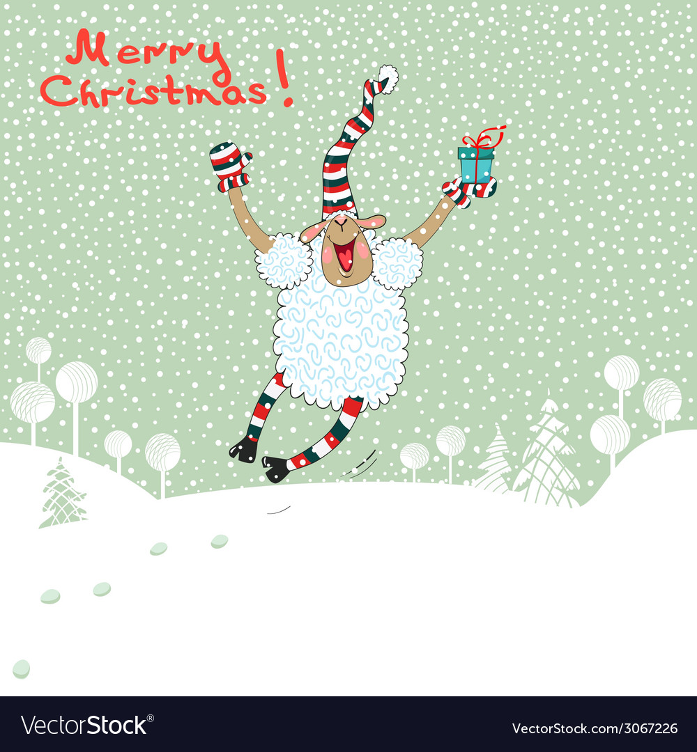 Merry card with sheep vector | Price: 1 Credit (USD $1)