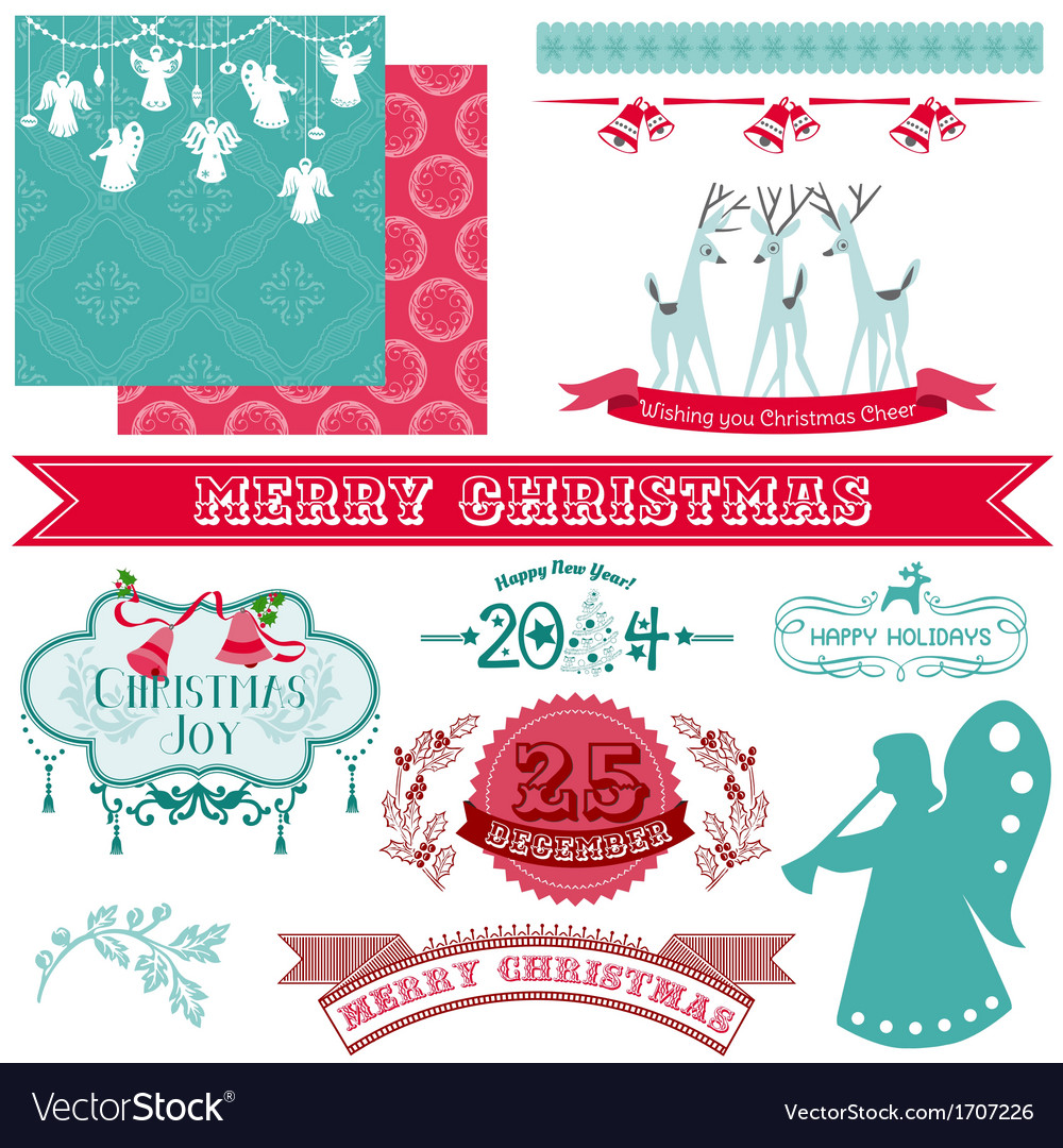Scrapbook design elements - vintage christmas vector | Price: 1 Credit (USD $1)