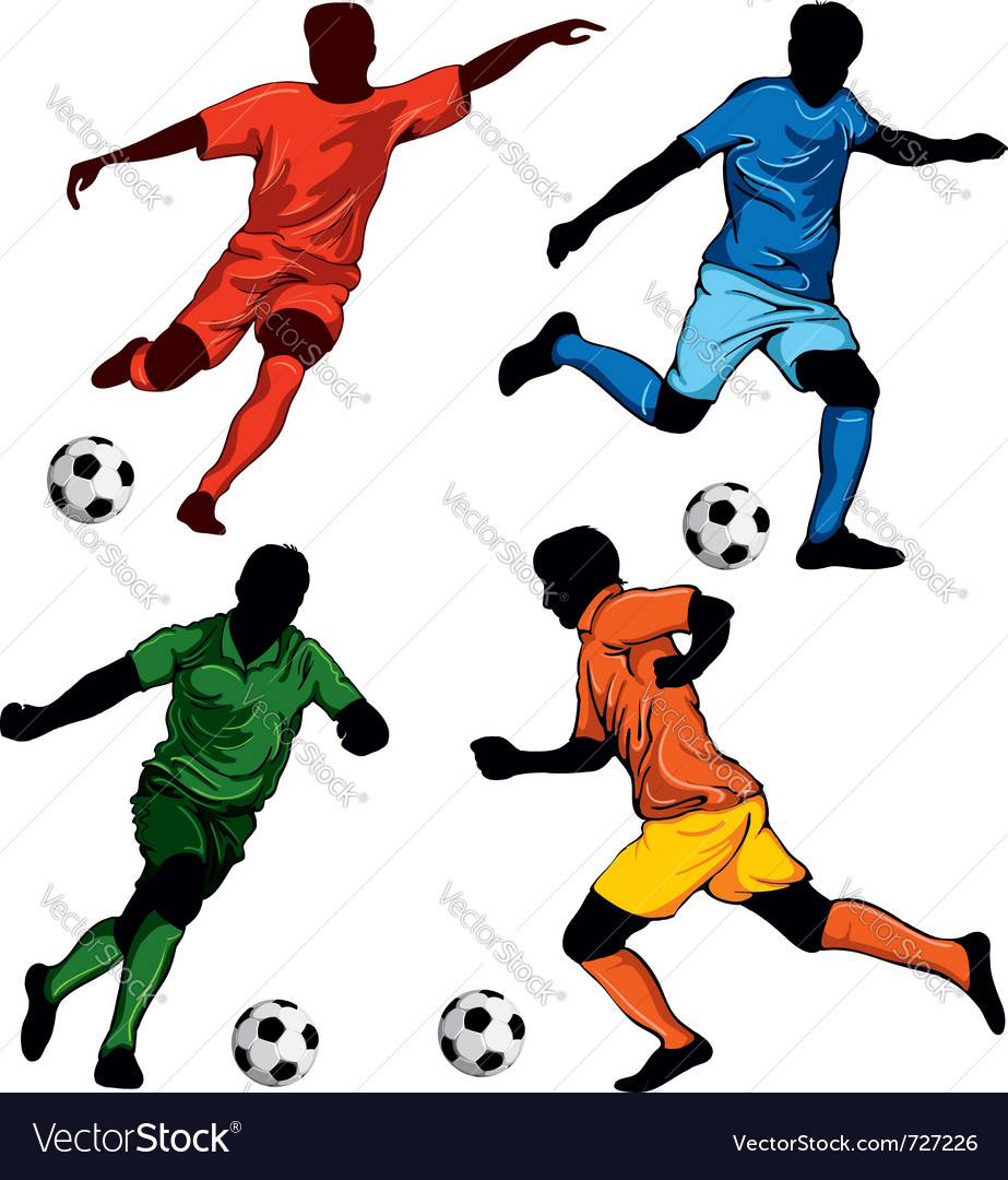 Set of four soccer players vector