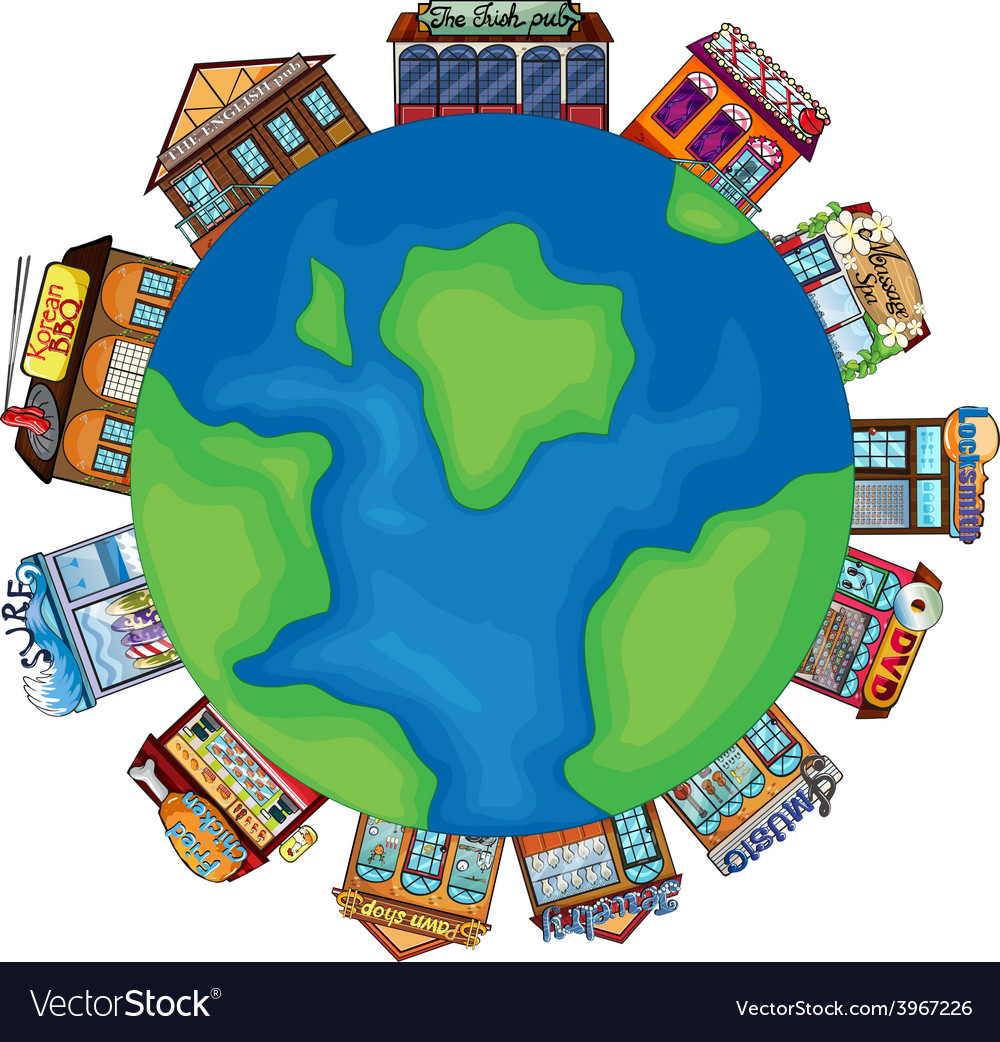 Shops and earth vector