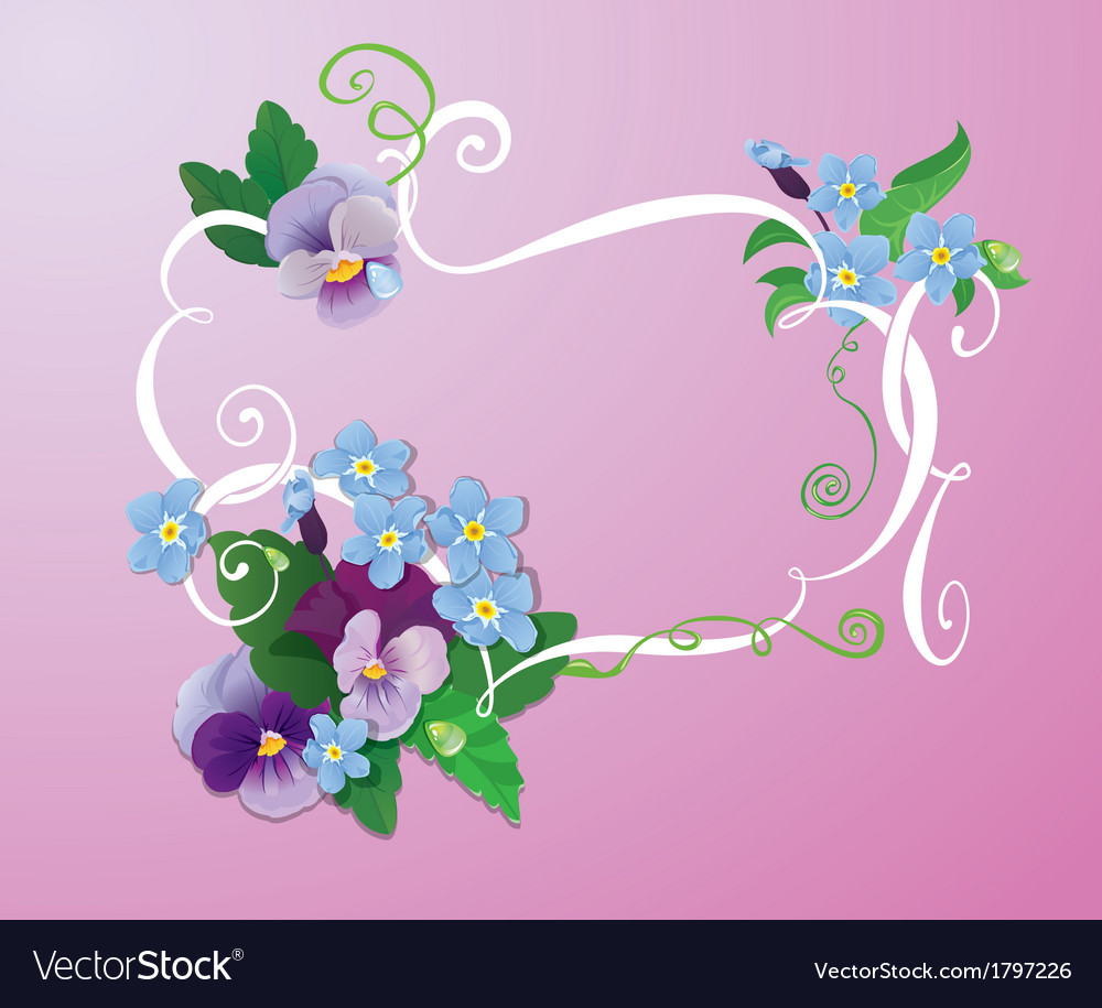 Valentines day or wedding card with pansy vector | Price: 1 Credit (USD $1)