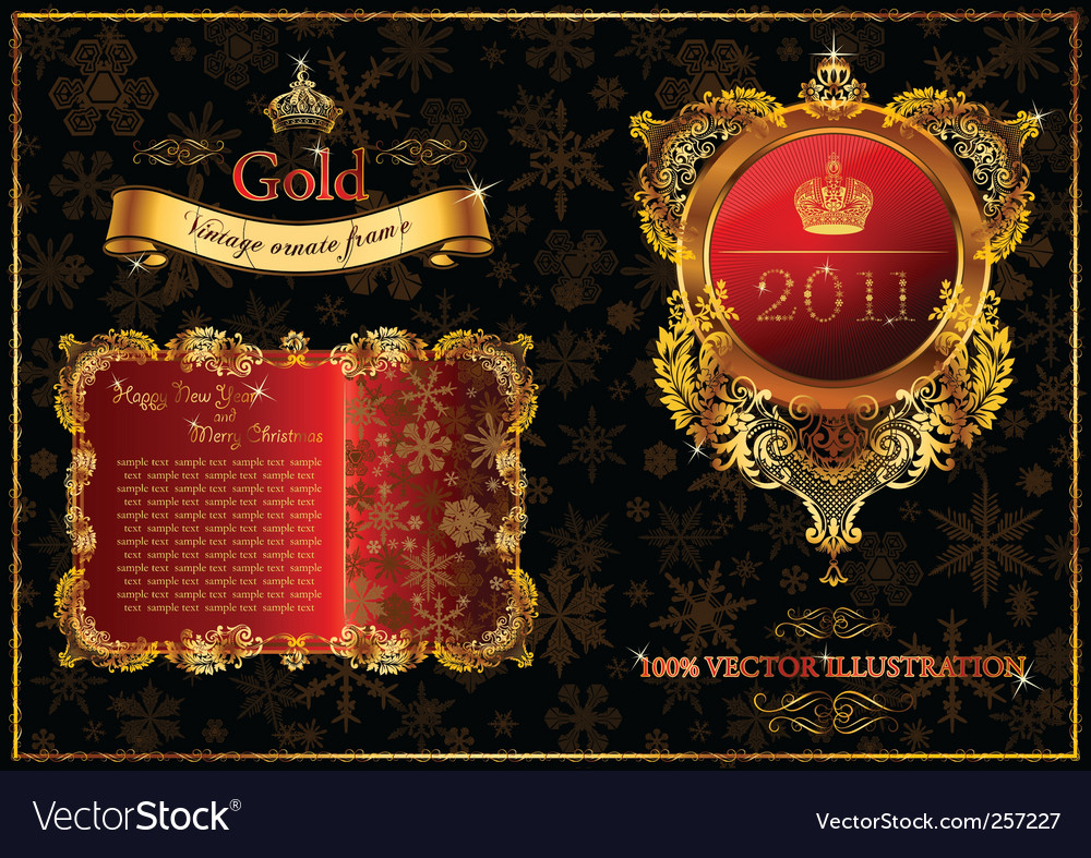 Christmas golden ornate frames 2011 vector | Price: 1 Credit (USD $1)