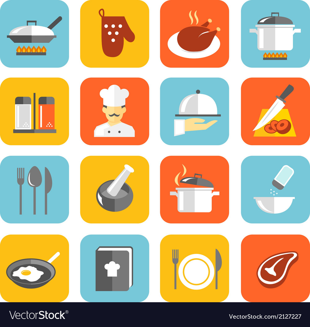 Cooking icons flat vector | Price: 1 Credit (USD $1)