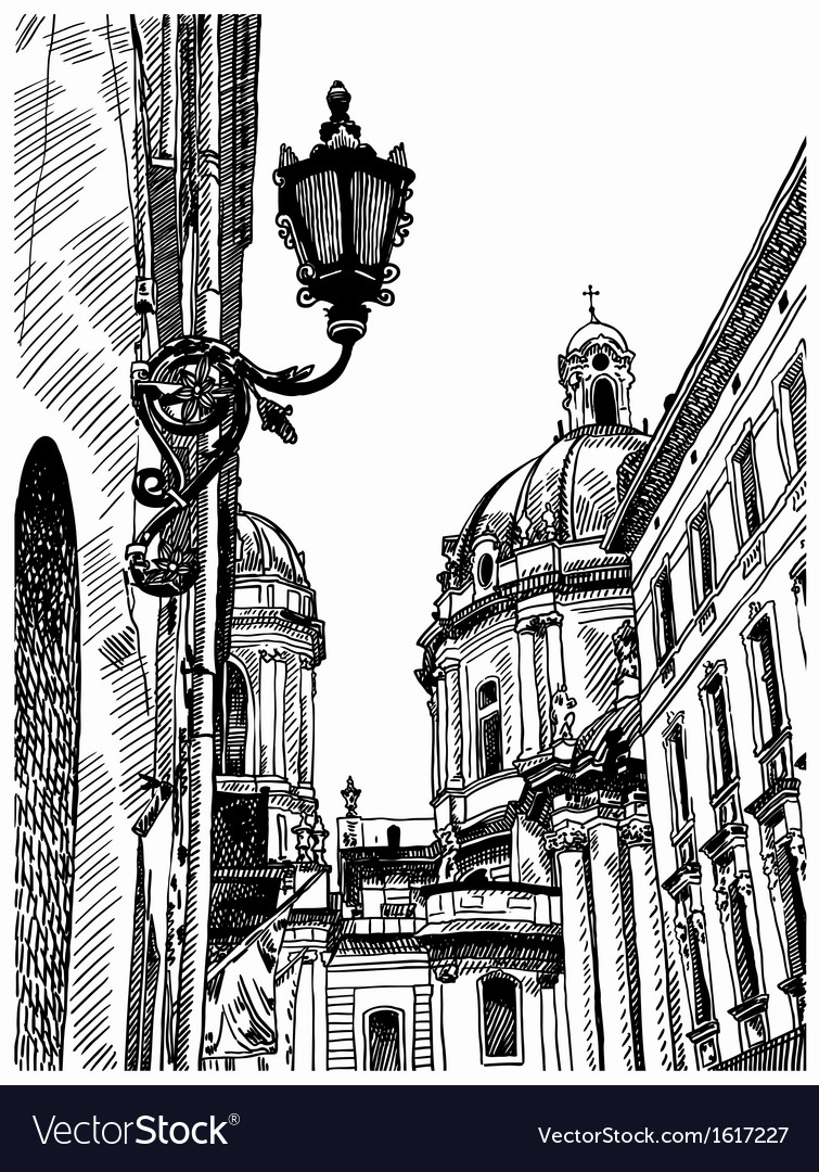 Drawing of lviv ukraine historical avenue vector | Price: 1 Credit (USD $1)