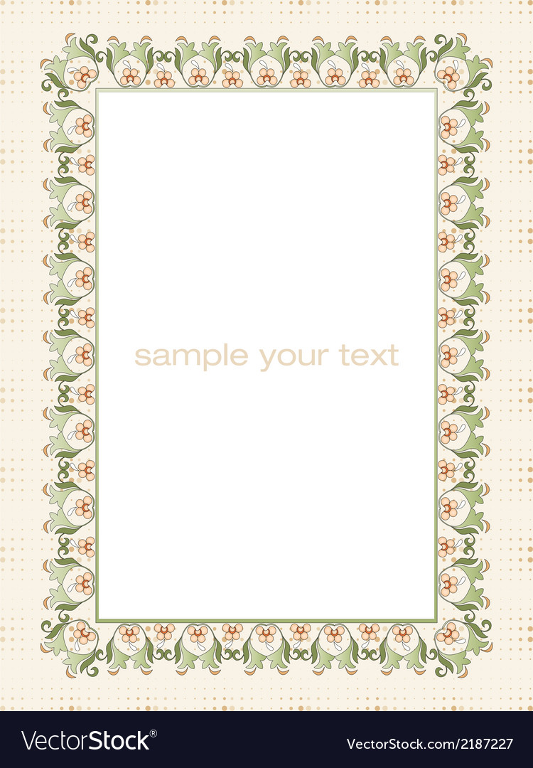 Frame with flowers of ottoman art two vector | Price: 1 Credit (USD $1)