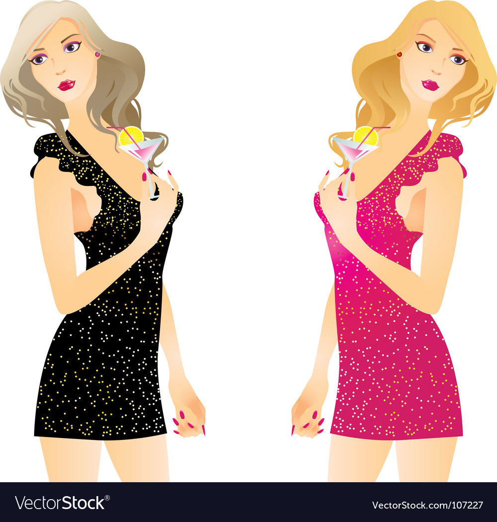 Girl and cocktail vector | Price: 3 Credit (USD $3)