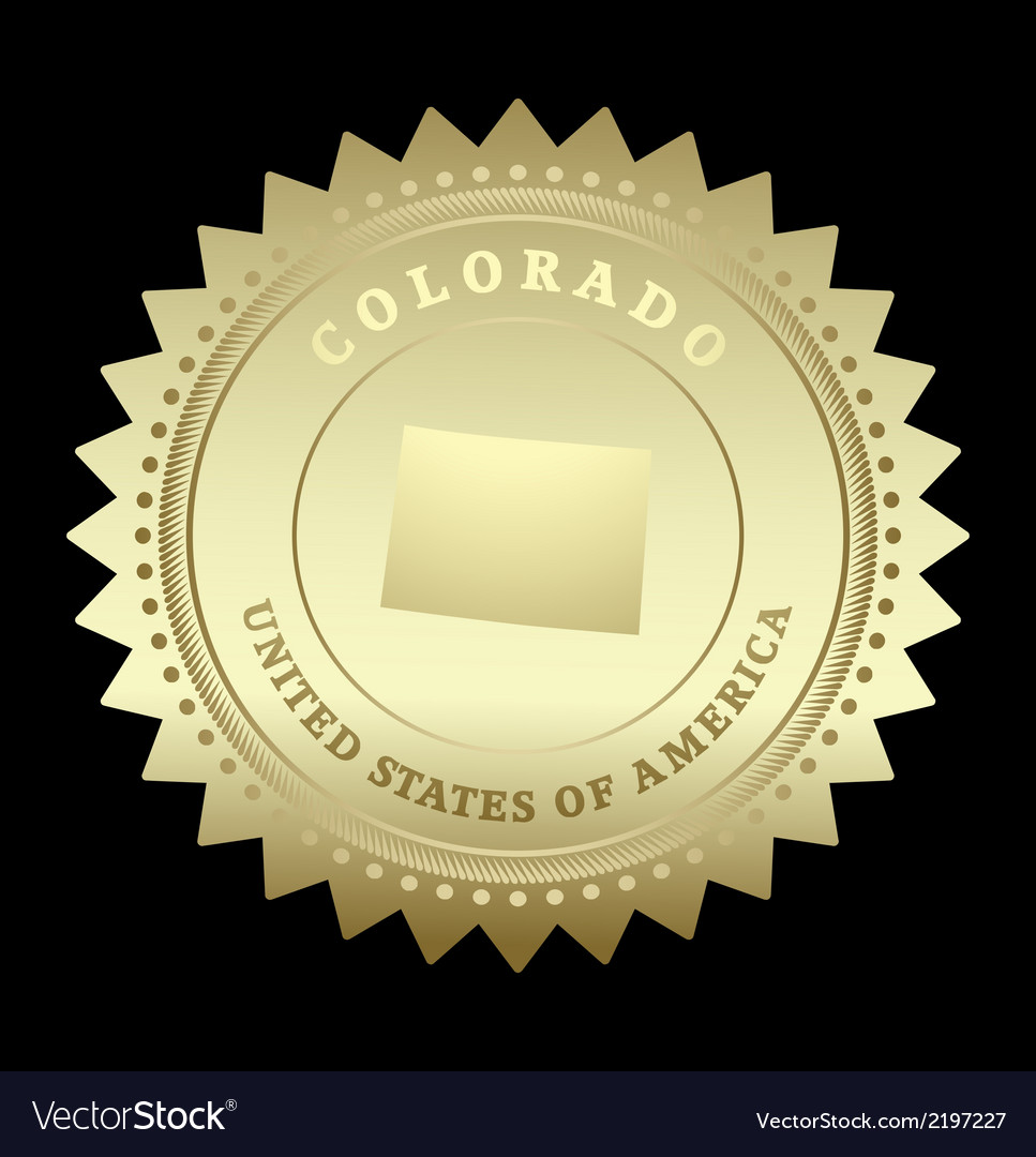 Gold star label colorado vector | Price: 1 Credit (USD $1)