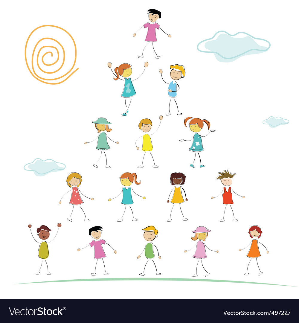 Kid forming pyramid vector | Price: 1 Credit (USD $1)