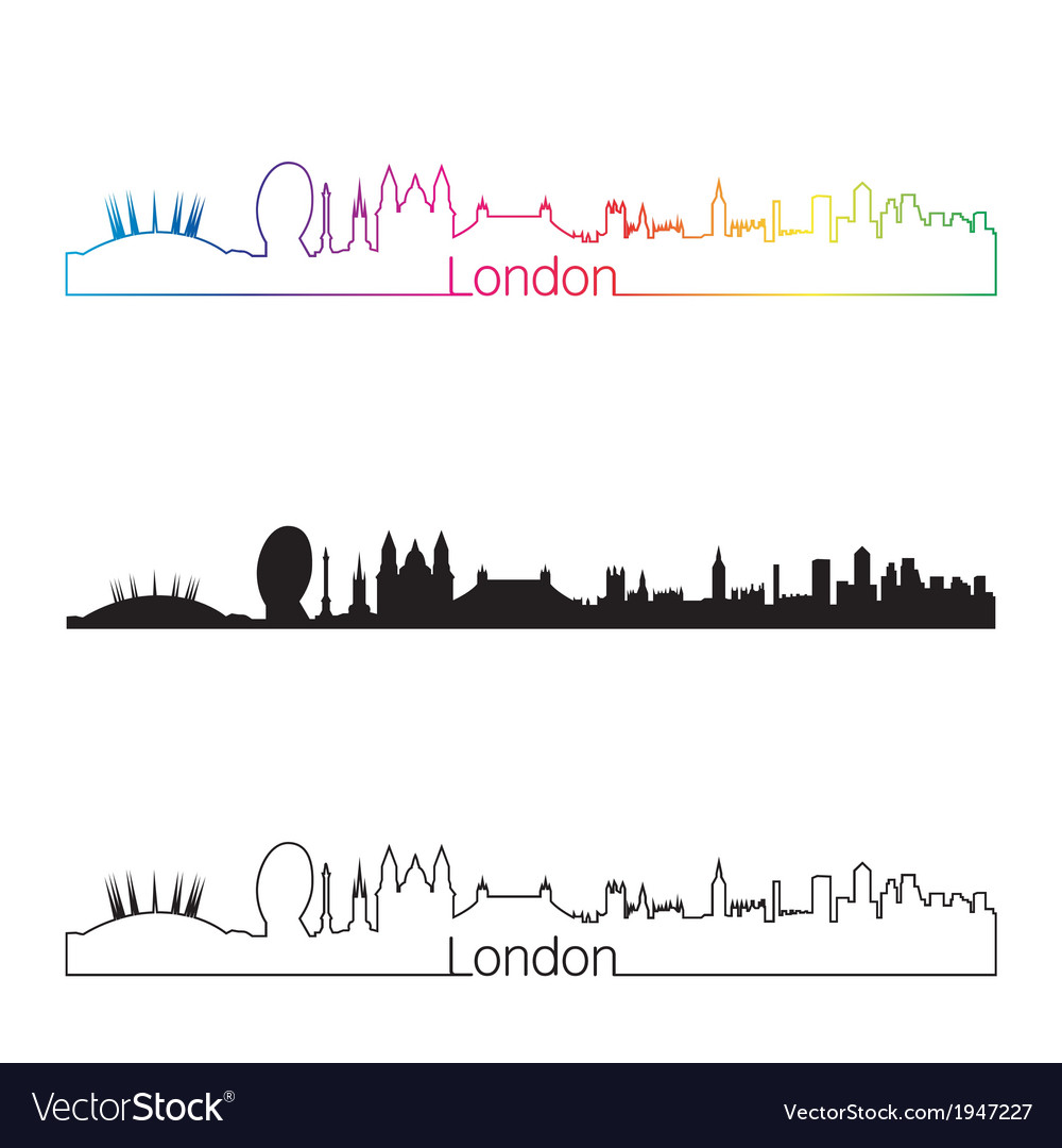 London skyline linear style with rainbow vector | Price: 1 Credit (USD $1)