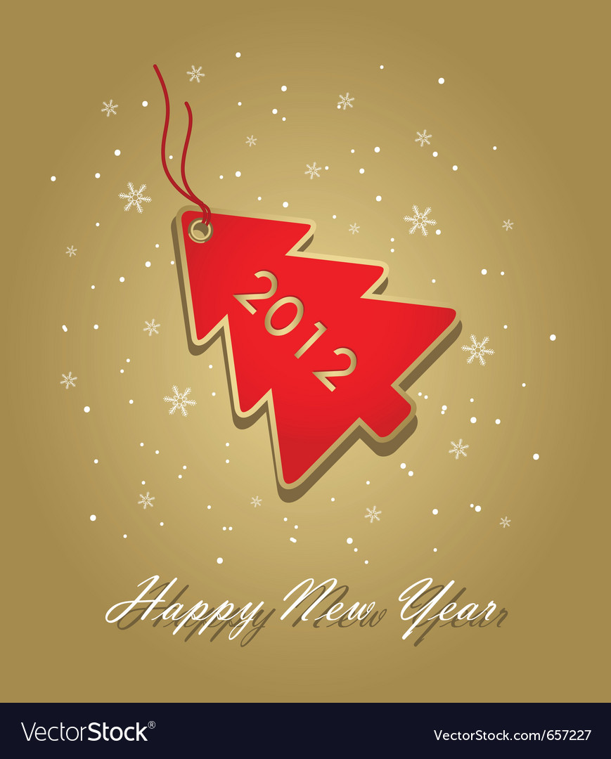 New year 2012 card with red christmas tree label o vector | Price: 1 Credit (USD $1)