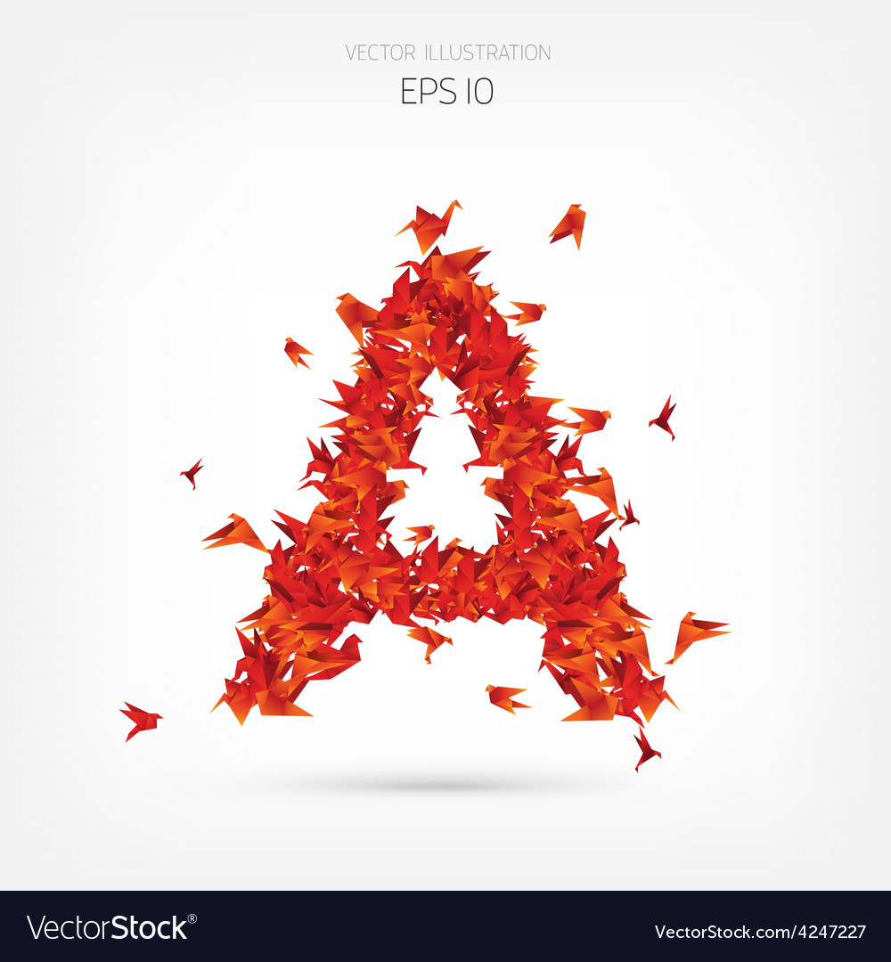 Origami paper birds alphabet letter a vector | Price: 1 Credit (USD $1)