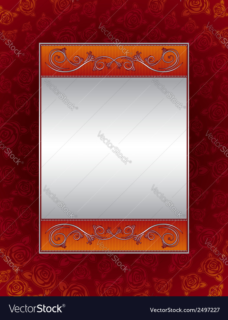 Red background with decorative roses vector | Price: 1 Credit (USD $1)