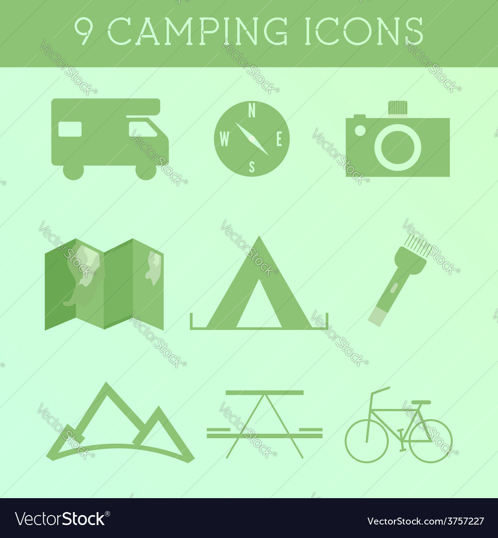 Set of outdoor summer camping icons rv motorhome vector | Price: 1 Credit (USD $1)