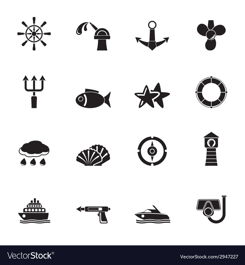 Silhouette marine and sea icons vector | Price: 1 Credit (USD $1)