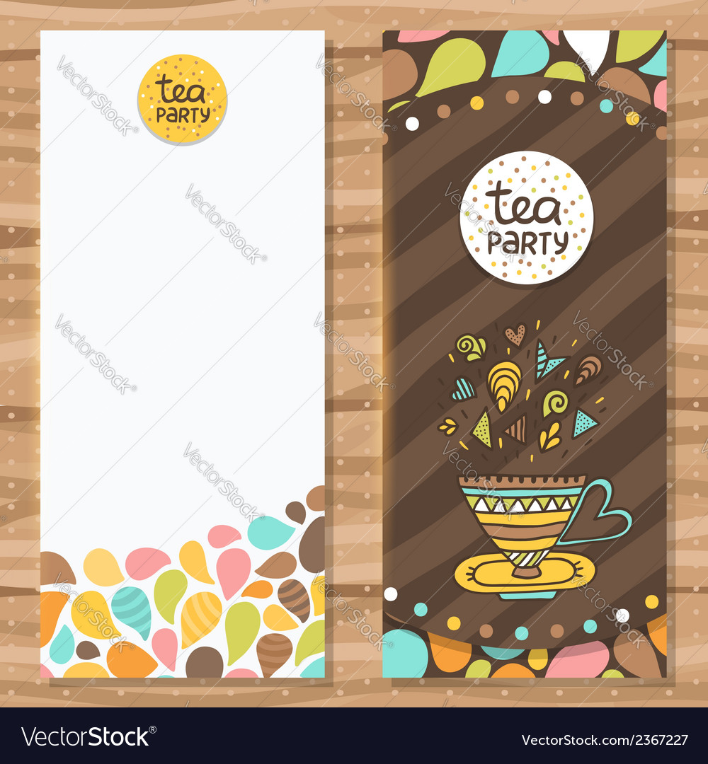 Tea party brochure template cute flyer design vector | Price: 1 Credit (USD $1)