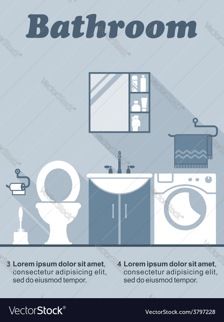 Bathroom flat interior decor infographic vector | Price: 1 Credit (USD $1)