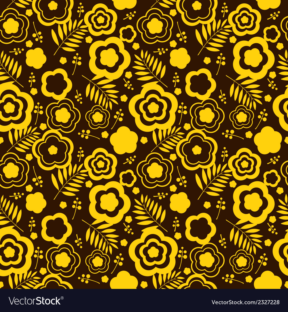 Beauty seamless pattern with yellow flowers vector | Price: 1 Credit (USD $1)