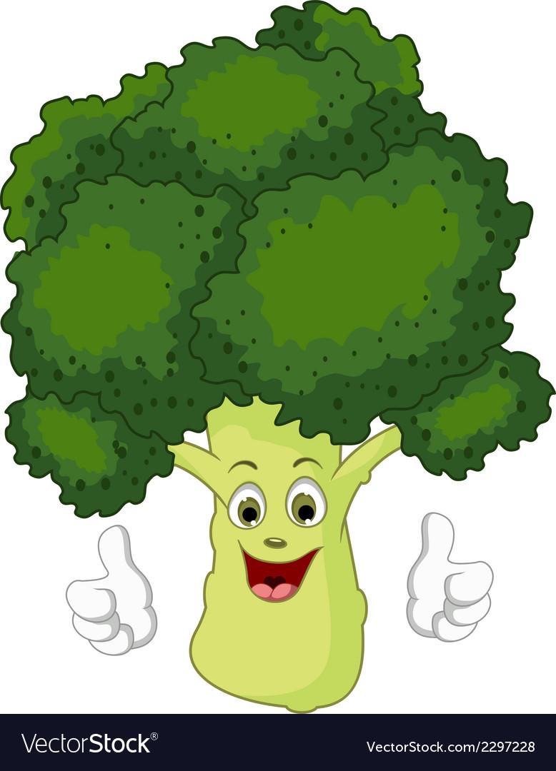 Cartoon broccoli giving thumbs up vector | Price: 1 Credit (USD $1)