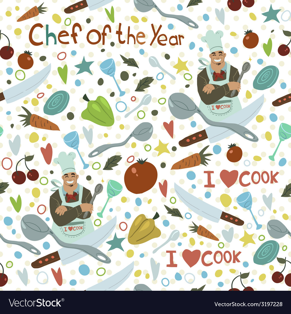 Chef of the year seamless pattern vector | Price: 1 Credit (USD $1)
