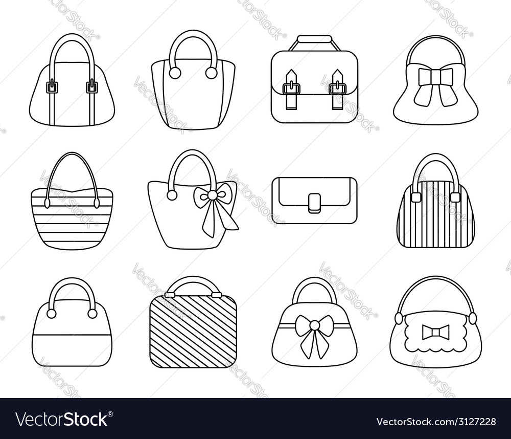 Collection of female bags vector | Price: 1 Credit (USD $1)