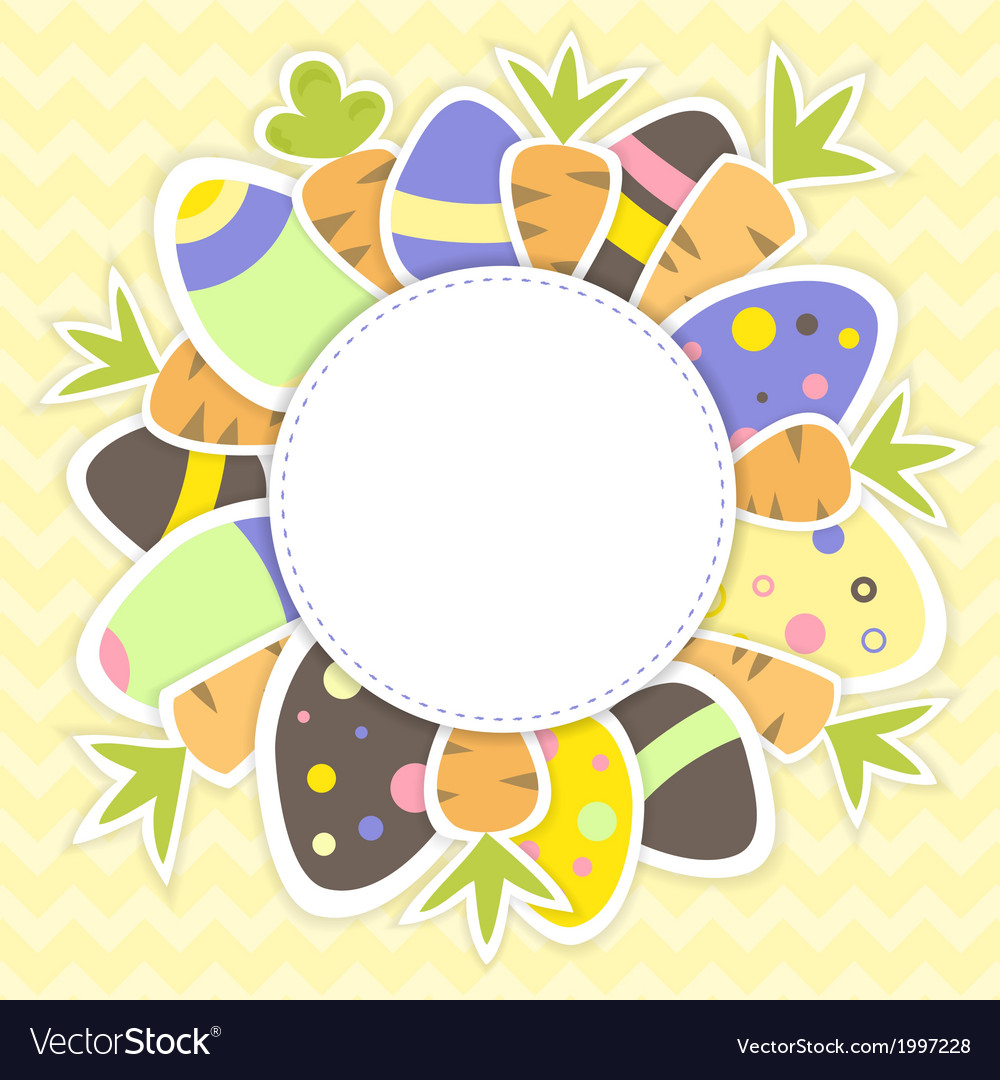 Easter eggs and carrots pattern on a yellow vector   Price: 1 Credit (USD $1)