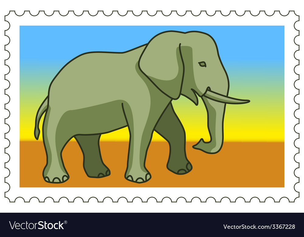 Elephant on stamp vector | Price: 1 Credit (USD $1)