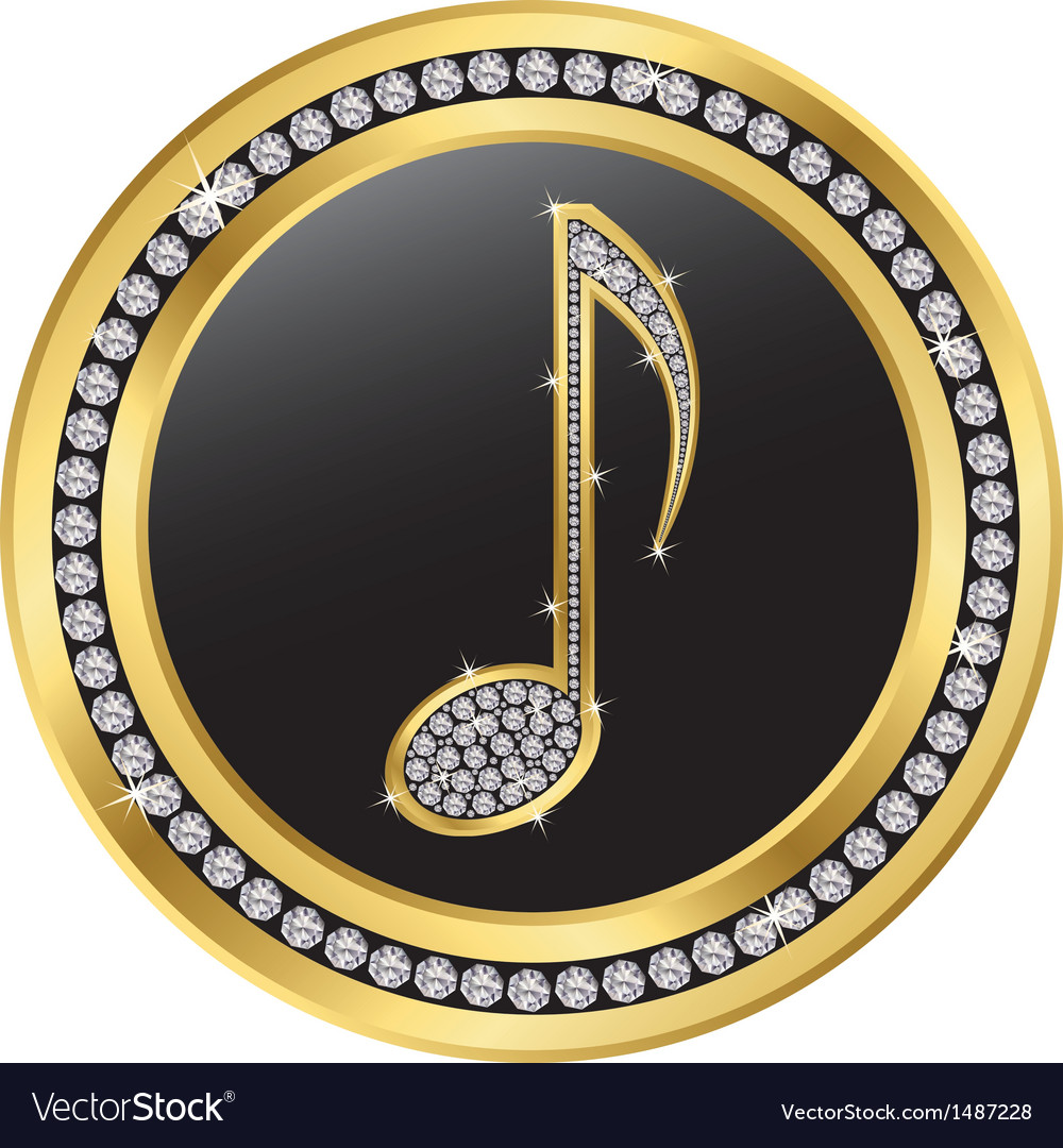 Music note gold icon with diamonds vector | Price: 1 Credit (USD $1)