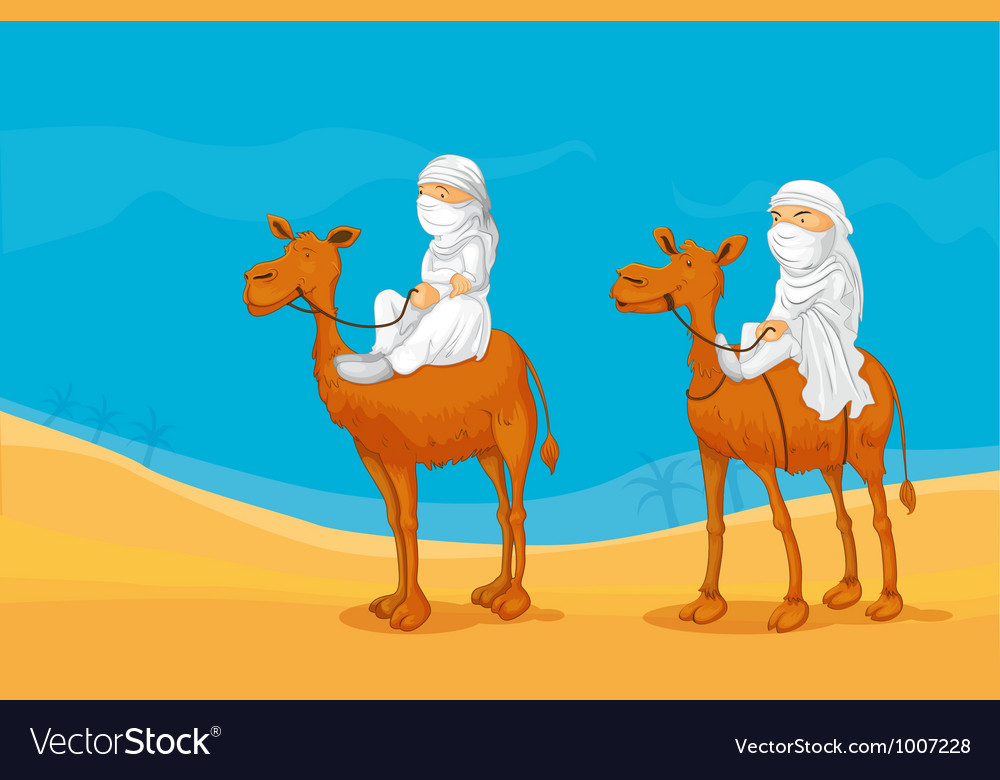 People riding a camel vector | Price: 3 Credit (USD $3)