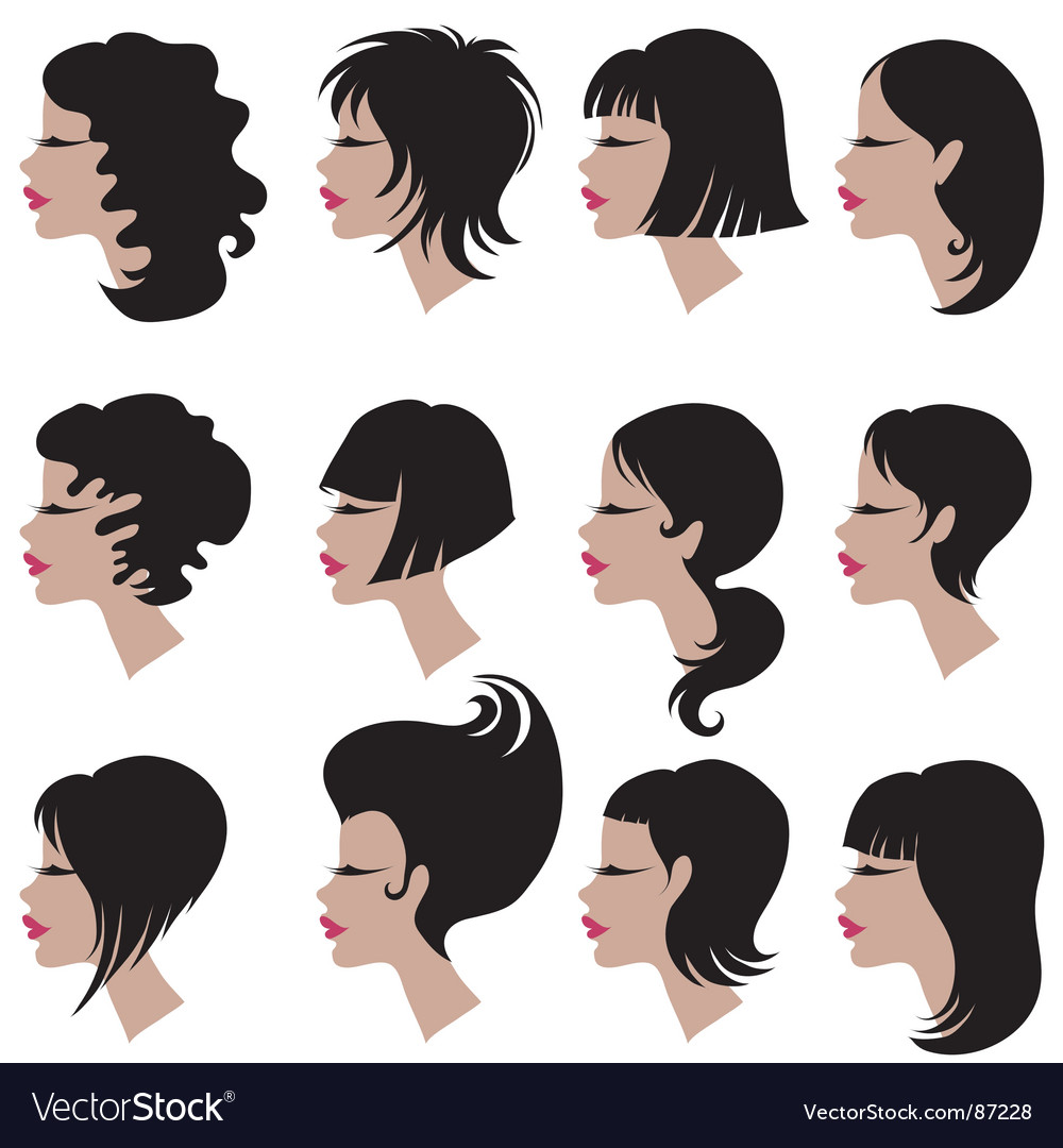 Set of black hair styling for woman vector | Price: 1 Credit (USD $1)