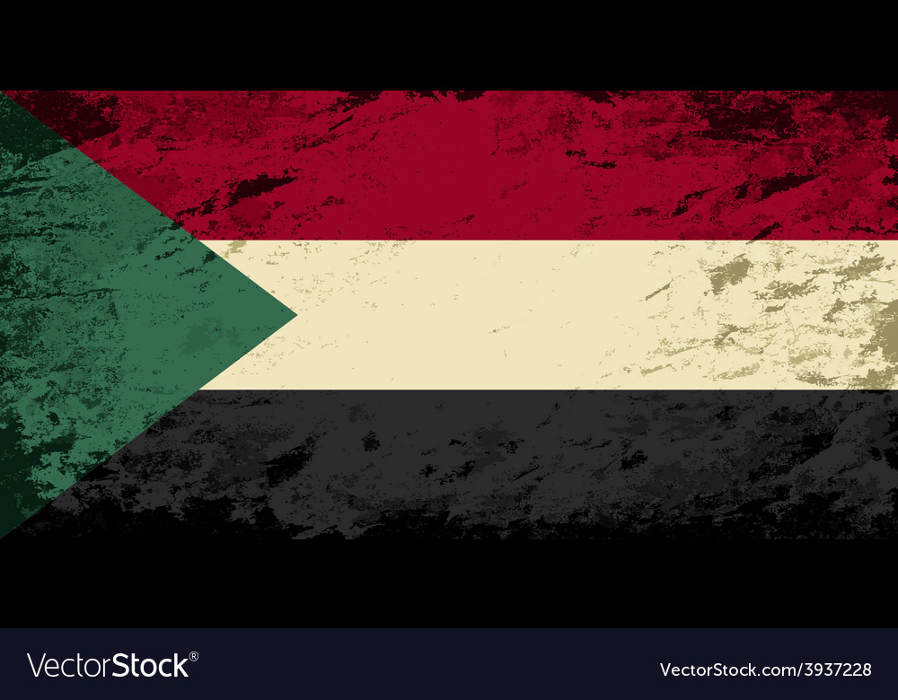 Sudanese flag grunge background vector | Price: 1 Credit (USD $1)