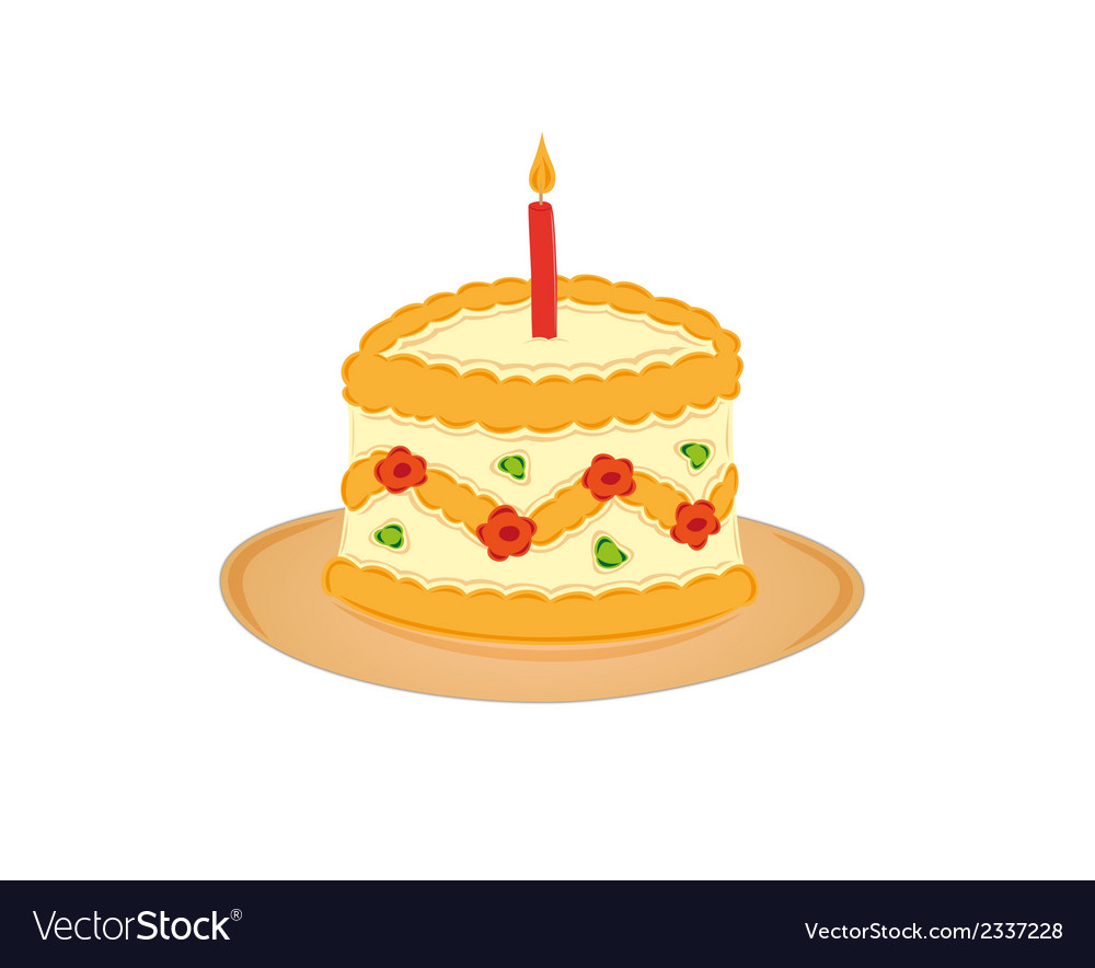 Sweet cake and one burning candle vector | Price: 1 Credit (USD $1)