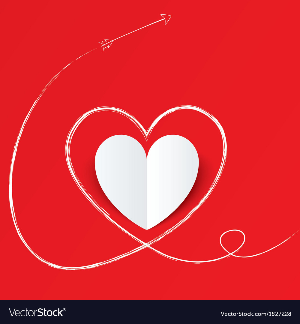White paper heart with arrow path valentines day vector | Price: 1 Credit (USD $1)