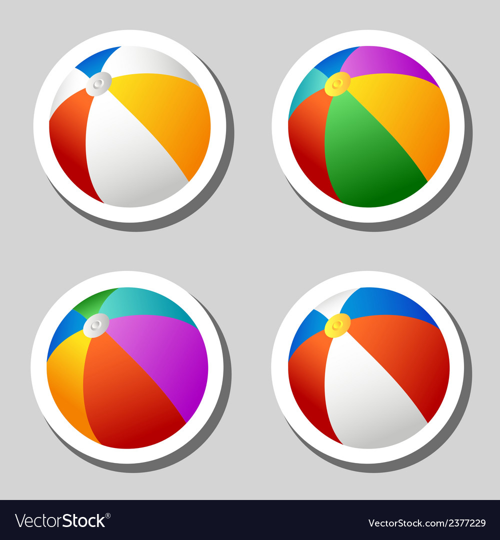 Beach ball stickers set vector | Price: 1 Credit (USD $1)