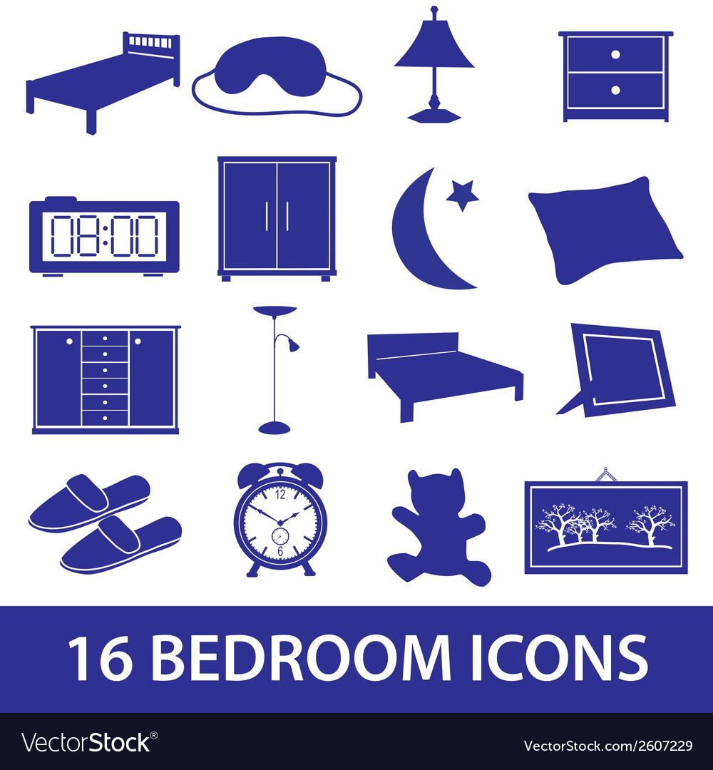 Bedroom icon set eps10 vector | Price: 1 Credit (USD $1)