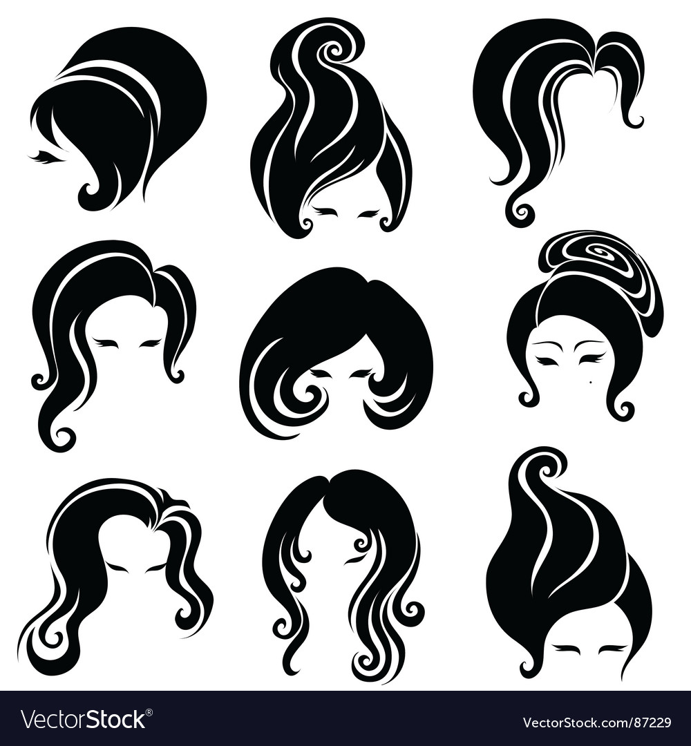 Big set of black hair styling for woman vector | Price: 1 Credit (USD $1)