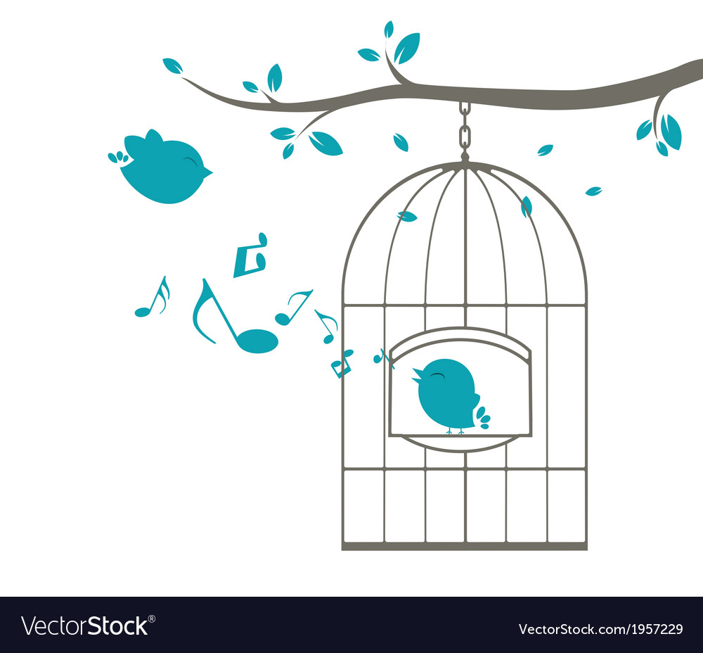 Birds singing on the cage vector | Price: 1 Credit (USD $1)