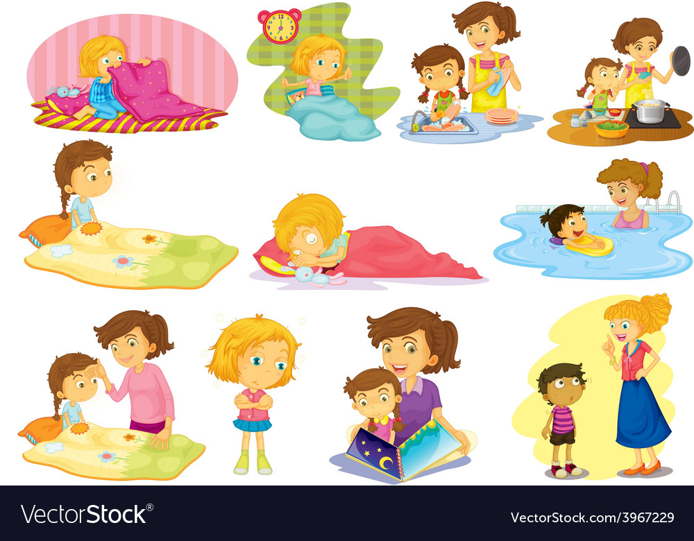Children and activities vector | Price: 1 Credit (USD $1)
