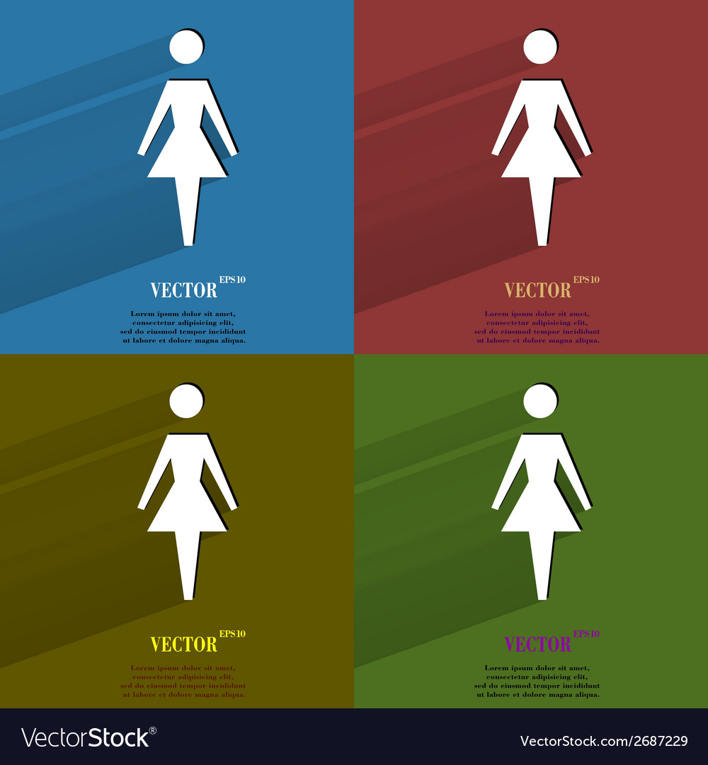 Color set woman restroom flat modern web button vector | Price: 1 Credit (USD $1)