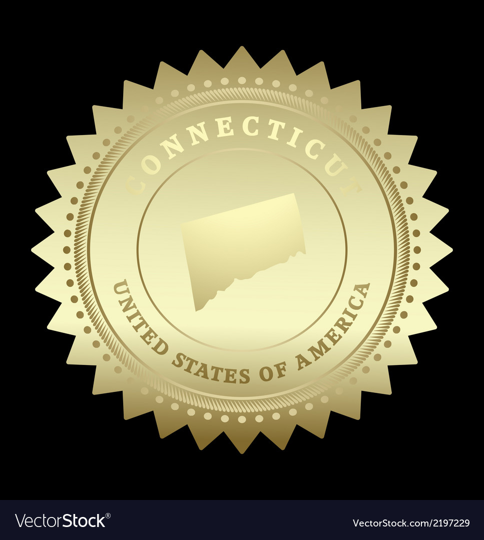 Gold star label connecticut vector | Price: 1 Credit (USD $1)