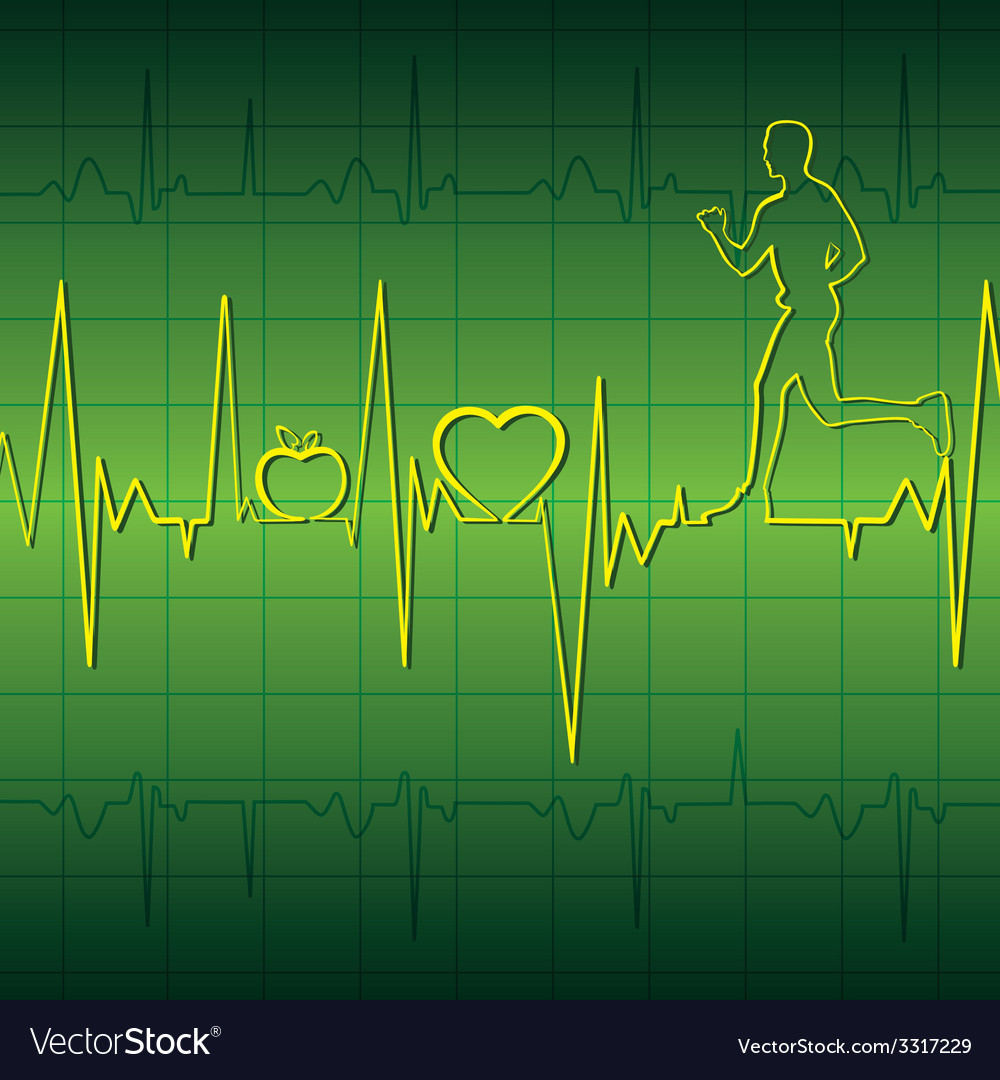 Green heart beat graph background with running men vector | Price: 1 Credit (USD $1)