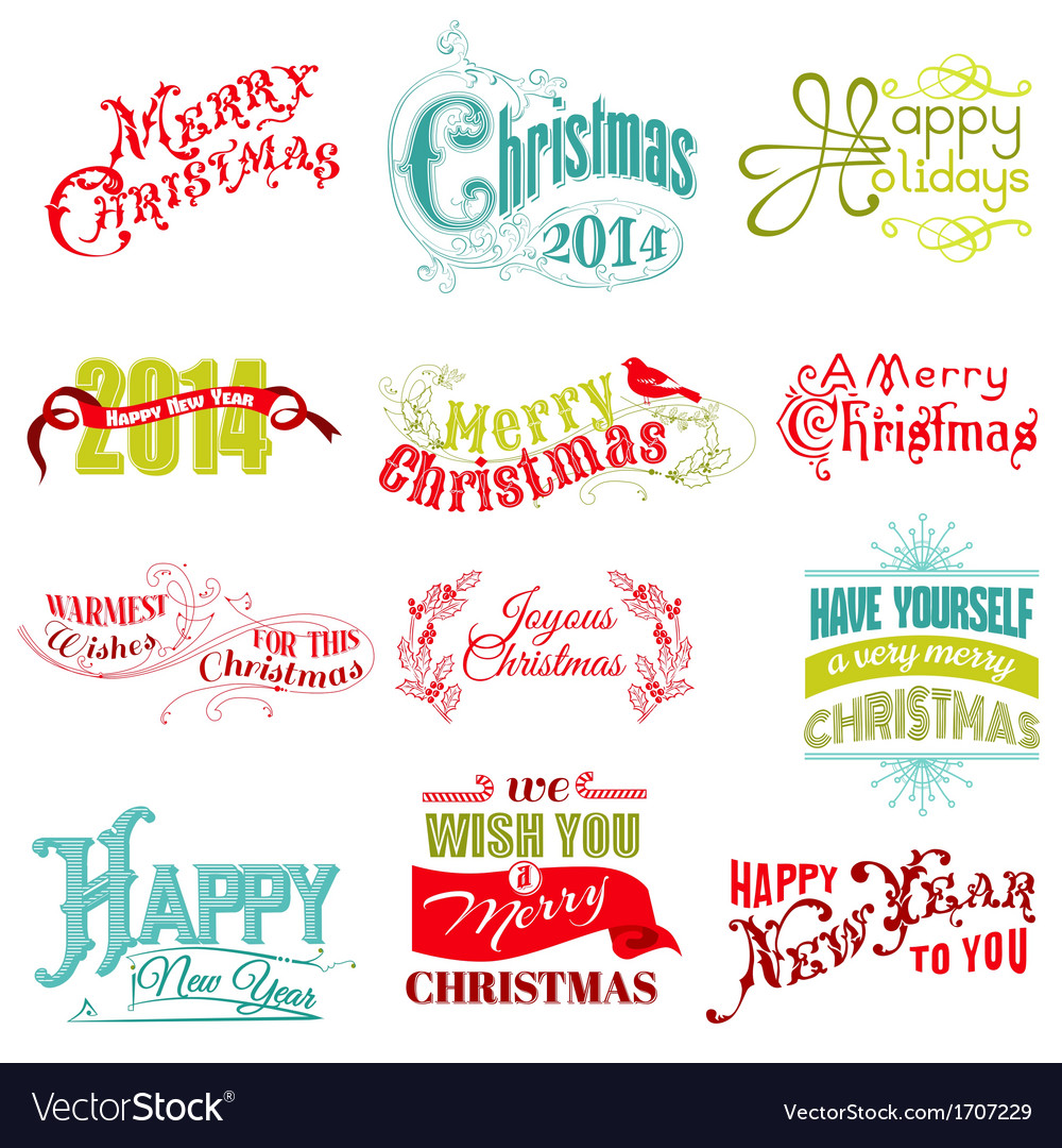 Set christmas calligraphic design elements vector   Price: 1 Credit (USD $1)