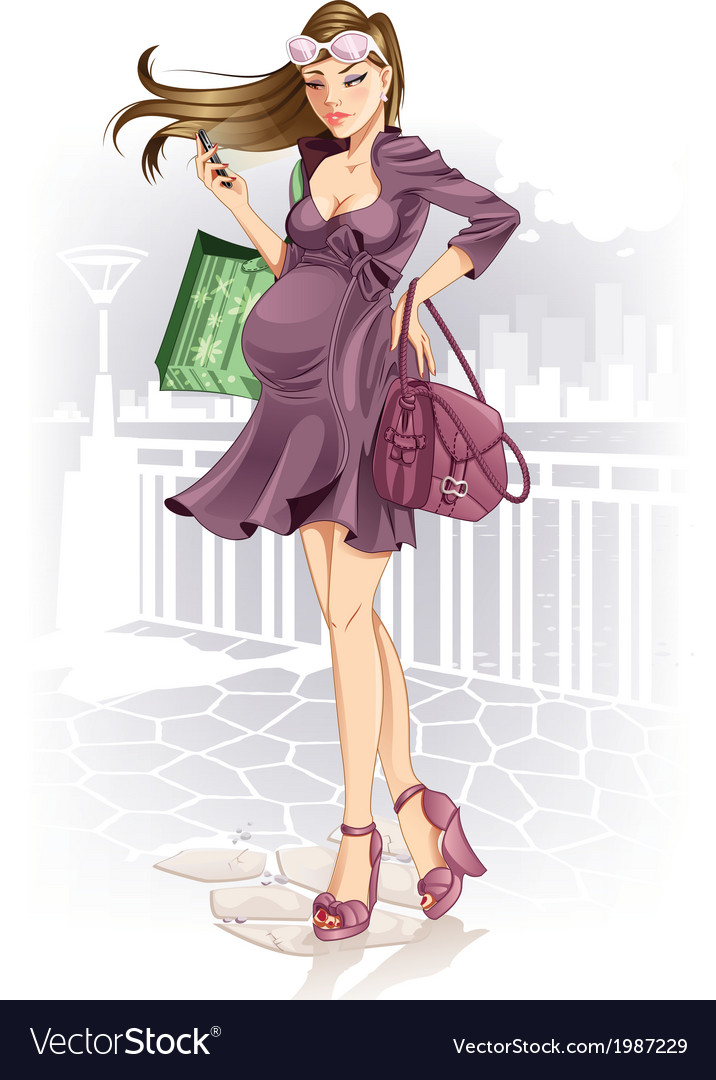 Shopping pregnant woman vector   Price: 1 Credit (USD $1)