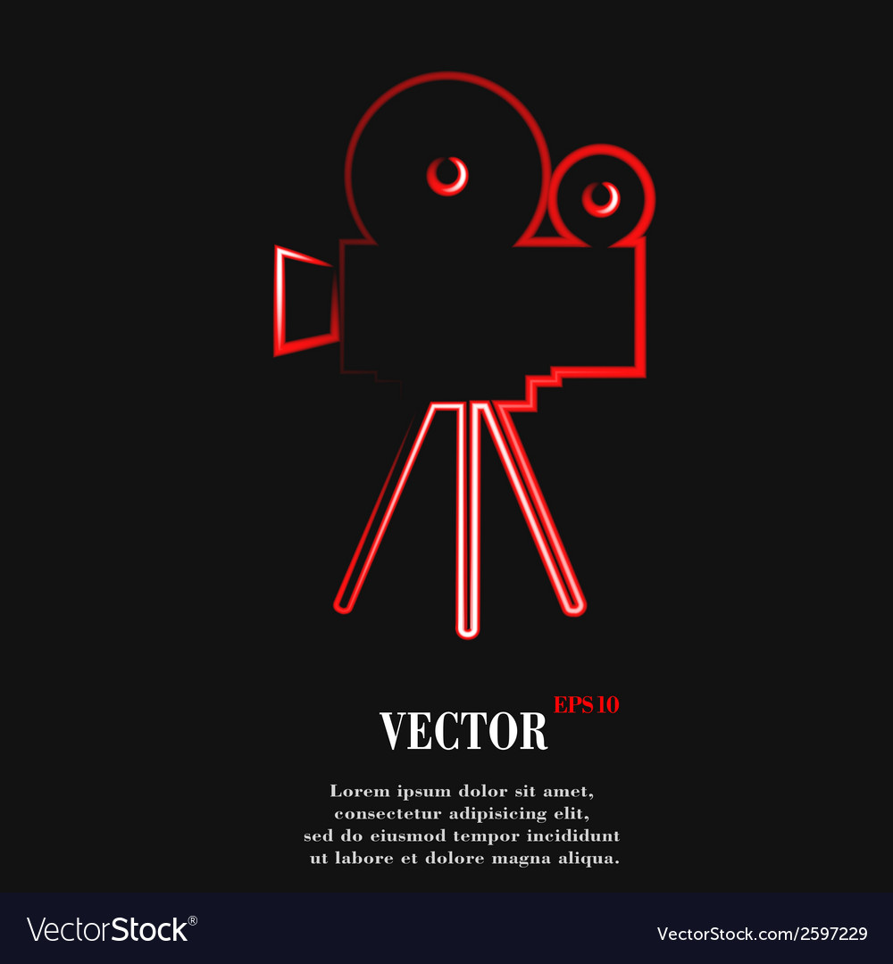 Videocamera flat modern web button and space for vector | Price: 1 Credit (USD $1)