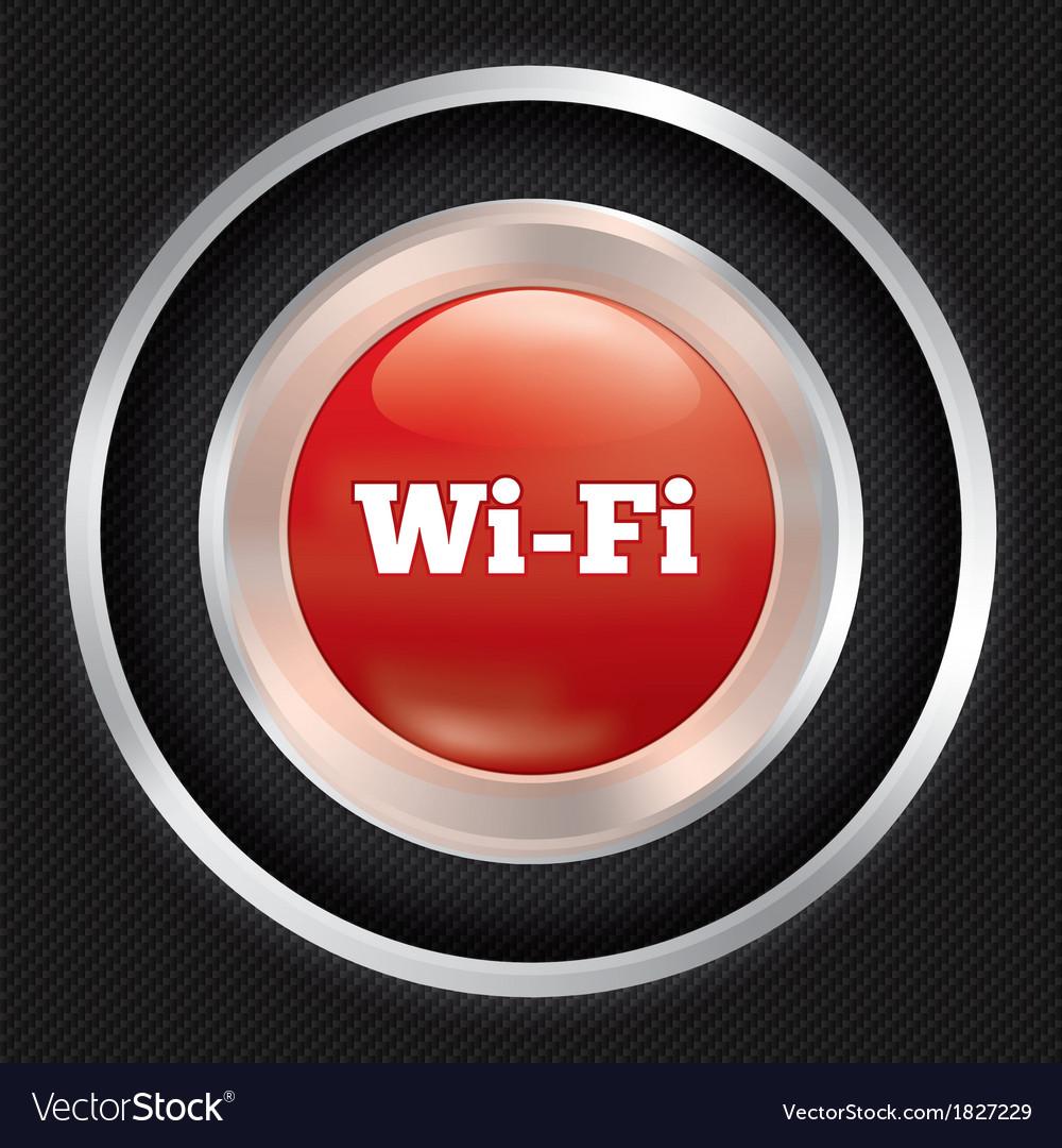 Wi-fi button metallic wifi icon on carbon fiber vector | Price: 1 Credit (USD $1)