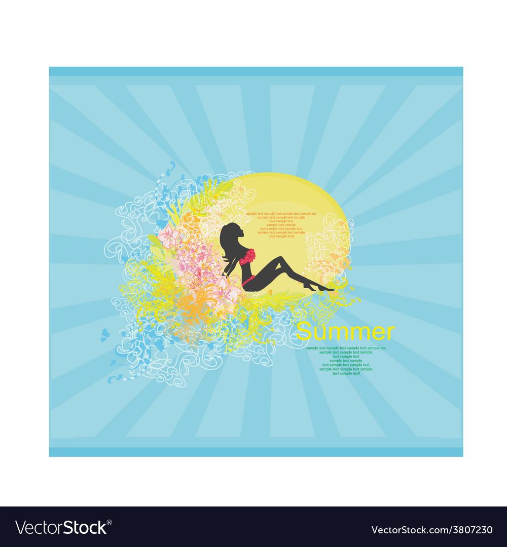 Bikini girl grunge poster vector   Price: 1 Credit (USD $1)