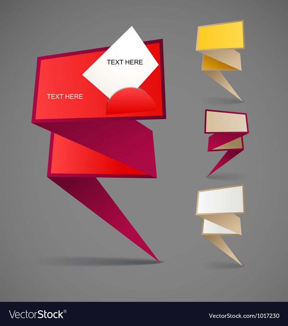 Colorful polygonal origami banners vector | Price: 1 Credit (USD $1)