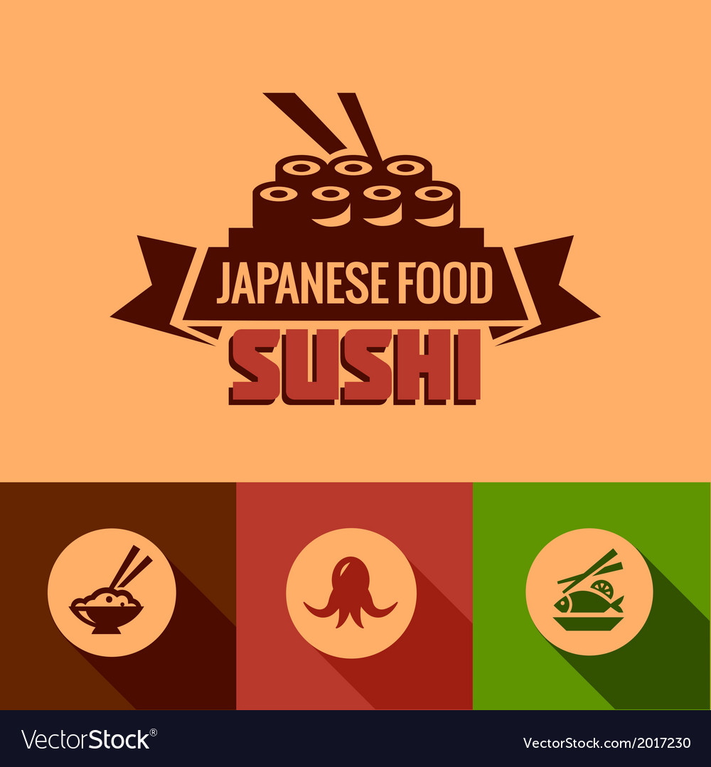 Flat template of sushi bar menu vector | Price: 1 Credit (USD $1)