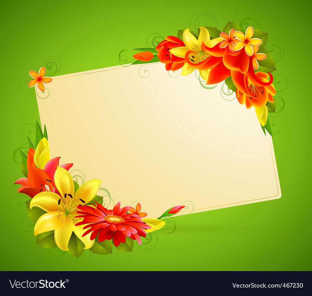 Flowers and place for text vector | Price: 1 Credit (USD $1)