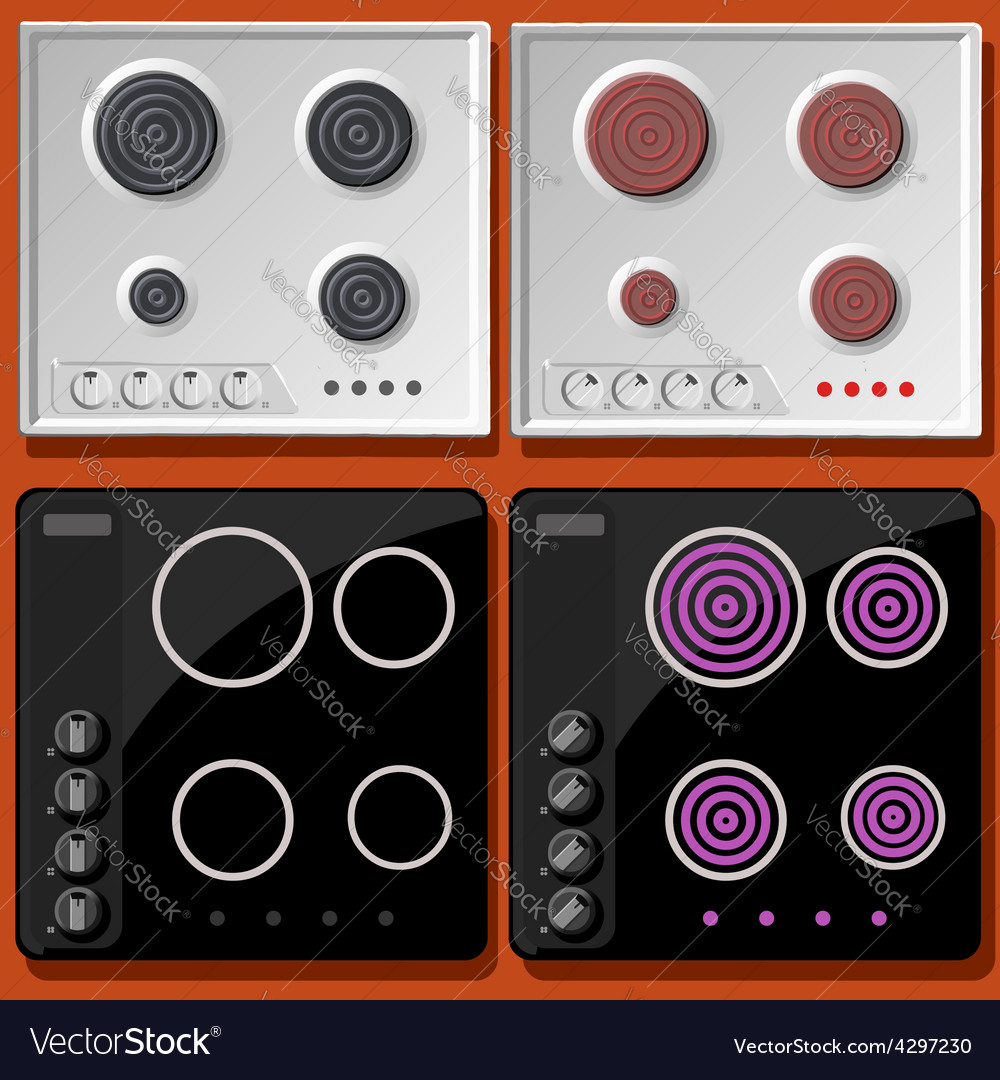Induction and electric cooker switched on and off vector | Price: 1 Credit (USD $1)