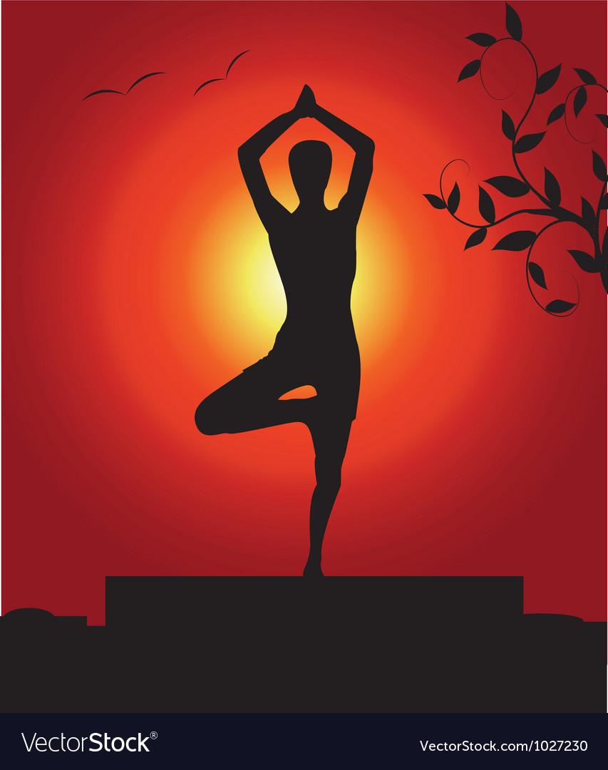 Outdoor yoga vector | Price: 1 Credit (USD $1)